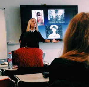 Inna lecturing students