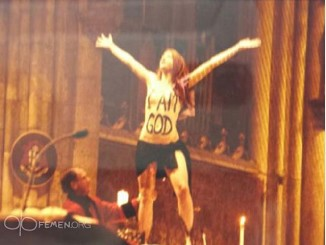 FEMEN Germany activist Josephine Witt during the protest at the Cologne Cathedral